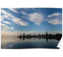 Blue and White Serenity - a Lakefront Stillness Poster