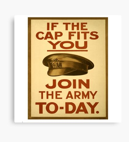 """""""If the Cap fits"""" British WWI Poster Canvas Print"""