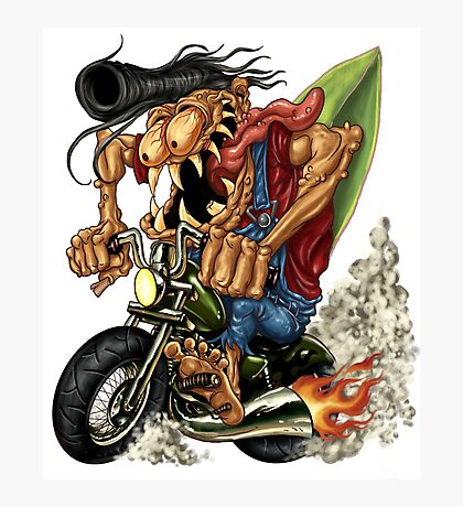Waves and Wheels Biker Monster Photographic Print