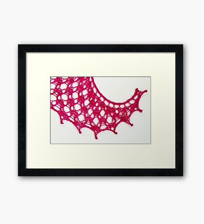 Pink knitted lace swirl Framed Print