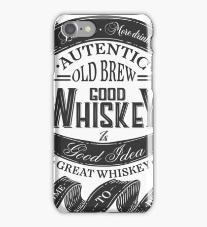 Whiskey Poster of alcohol with hand drawn lettering. Drawing for pub, bar menu, alcohol card, t-shirt print. Isolated of whiskey with lettering on chalkboard. Vector Illustration iPhone Case/Skin
