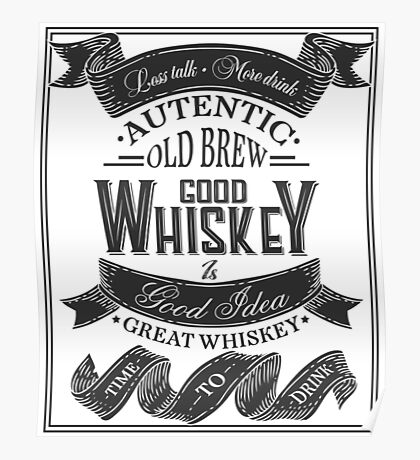 Whiskey Poster of alcohol with hand drawn lettering. Drawing for pub, bar menu, alcohol card, t-shirt print. Isolated of whiskey with lettering on chalkboard. Vector Illustration Poster