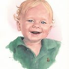 One-year-old boy watercolor by Mike Theuer