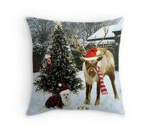 Snowdrop & Rudolph Throw Pillow