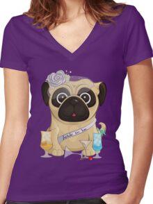 Bachelorette Pug Women's Fitted V-Neck T-Shirt