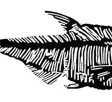 Fossil fish linocut by Ieuan  Edwards