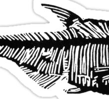 Fossil fish linocut Sticker