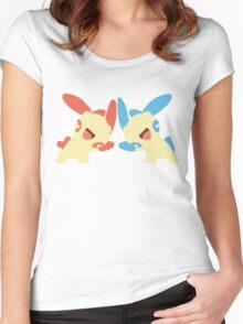 Plusle & Minun Minimalist Women's Fitted Scoop T-Shirt