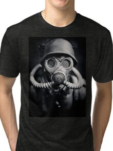 WWII German Solider in a Gas Mask Tri-blend T-Shirt