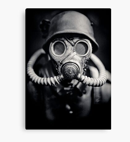 WWII German Solider in a Gas Mask Canvas Print