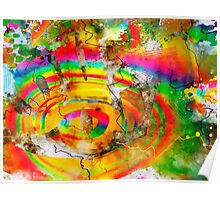 Exploding Rainbow 2 - Contemporary Abstract Digital Watercolor Poster