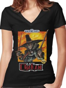 Chakan - SEGA Genesis Box Art Women's Fitted V-Neck T-Shirt