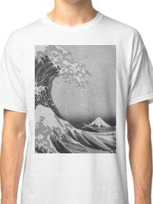 Black and White Japanese Great Wave off Kanagawa by Hokusai Classic T-Shirt