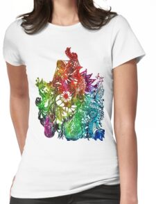 Zen Doodle 3A Rainbow White Womens Fitted T-Shirt