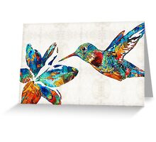 Colorful Hummingbird Art by Sharon Cummings Greeting Card