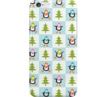 Festive Penguins and Christmas Trees Pattern iPhone Case/Skin