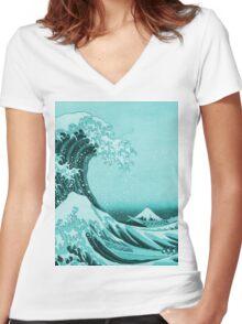 Aqua Blue Japanese Great Wave off Kanagawa by Hokusai Women's Fitted V-Neck T-Shirt