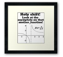 Hilarious 'Holy Shift! Look at the asymptote on that mother function' Math Geek T-Shirt Framed Print