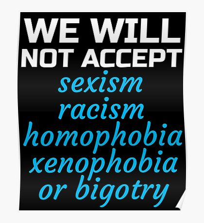 Womens March - We will not Accept Bigotry, Sexism Poster