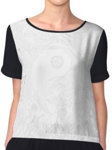 Zen Doodle Yin Yang Snow White Ornate Chiffon Top