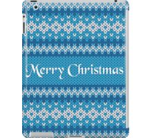 Merry Christmas Greeting Card on Winter Geometric Ornament Pattern Background in Blue and White from Knitted Fabric with Words iPad Case/Skin