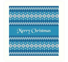 Merry Christmas Greeting Card on Winter Geometric Ornament Pattern Background in Blue and White from Knitted Fabric with Words Art Print
