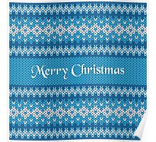 Merry Christmas Greeting Card on Winter Geometric Ornament Pattern Background in Blue and White from Knitted Fabric with Words Poster