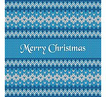 Merry Christmas Greeting Card on Winter Geometric Ornament Pattern Background in Blue and White from Knitted Fabric with Words Photographic Print