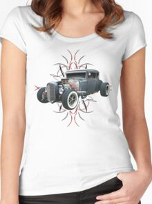 Pinstripe Hot Rod light Women's Fitted Scoop T-Shirt