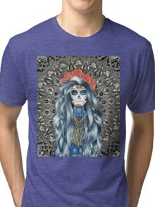Full Page Day of the Dead Woman Mandala Tri-blend T-Shirt