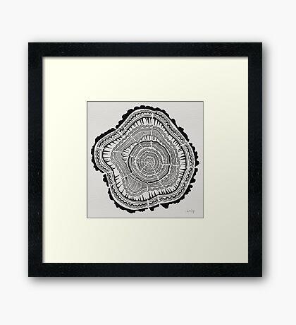 Tree Rings – Black on White Framed Print