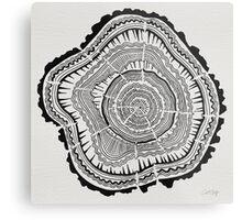 Tree Rings – Black on White Metal Print