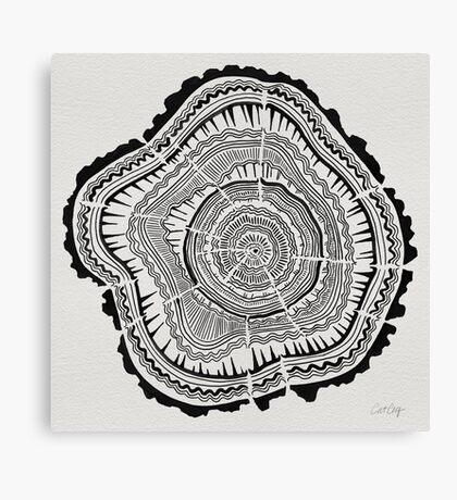 Tree Rings – Black on White Canvas Print