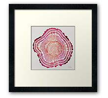 Tree Rings – Red Watercolor Framed Print