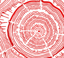 Red Tree Rings Sticker