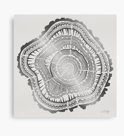 Silver Tree Rings Canvas Print