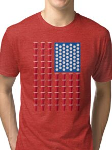 Beer Pong Drinking Game American Flag Beer T Shirts Funny Tri-blend T-Shirt
