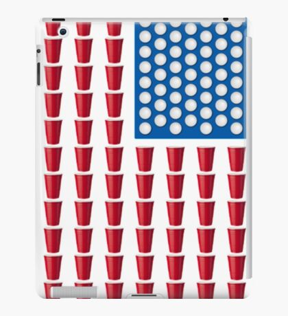 Beer Pong Drinking Game American Flag Beer T Shirts Funny iPad Case/Skin