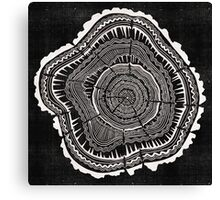 Woodblock Tree Rings Canvas Print