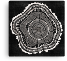 Woodblock Tree Rings Canvas Print