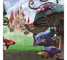 Caterpillar in the Wonderland Toadstool Forest Photographic Print