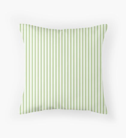 Color of the Year 2017 Greenery and White Mattress Ticking Stripes Throw Pillow