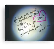 Whiteboard Love: Keep me in your heart... Canvas Print