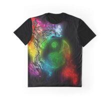 Zen Doodle Yin Yang Rainbow Black Graphic T-Shirt
