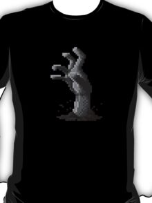 Zombie Grasp Pixels Black and White T-Shirt