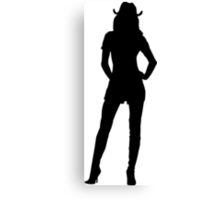 Western Theme - Cowgirl Silhouette Canvas Print