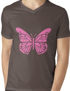 Beautiful Pink Butterfly Silhouette Stencil Mens V-Neck T-Shirt