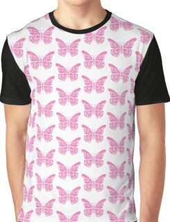 Beautiful Pink Butterfly Silhouette Stencil Graphic T-Shirt