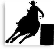 Rodeo Theme - Barrel Racer Silhouette Canvas Print