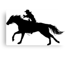 Rodeo Theme - Barrel Racer Silhouette Canvas Print